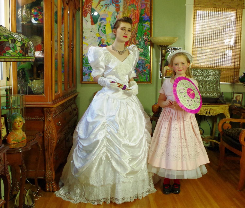 Vintage Wedding Dress 1980 s White Satin Princess Bridal