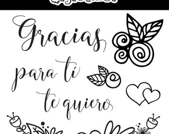 """Pack of clear stamps set - spanish - high quality - """"GRACIAS"""""""