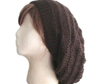 Oversized Slouch Hat, Slouchy Beanie, Dark Brown, Knit Slouch Hat, Large Loose Maxi Dreadlocks, Women