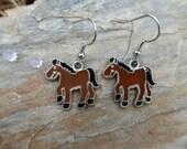 Enamel Horse Charm Earrings ~ Pierced Ears or Clip-On