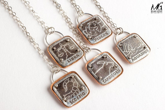 Custom Zodiac Astrological sign necklaces - Unisex zodiac symbol necklace in Sterling Silver and copper - Unisex Mens necklace