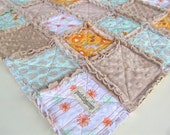 Baby Rag Quilt, Woodland Rag Quilt with Latte Minky