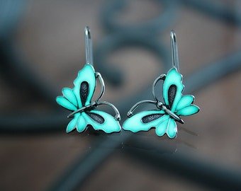 BUTTERFLY earrings Sterling Silver GLOW in the DARK - 02