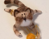 Needle Felted Tabby Cat - Original artwork designed and created- by Golden Thread Design