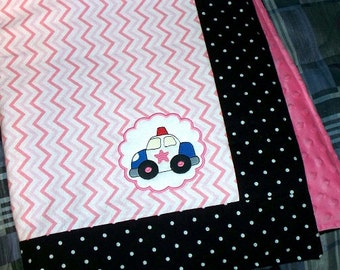 Police Officer Baby Girl Blanket - Personalized / Pink Chevron and Black Polka Dots with a Squad Car Ready to Ship