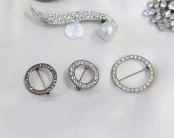 Small Round Rhinestone pins. Vintage Wedding Brooches. Etsy Love IS In The Details Event.