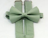 On Sale: Sage Green Suspenders and Sage Bow Tie Set. Wedding Color Sage. Sizes Infant-Adult. Free Shipping Offer. Custom Fit Available.