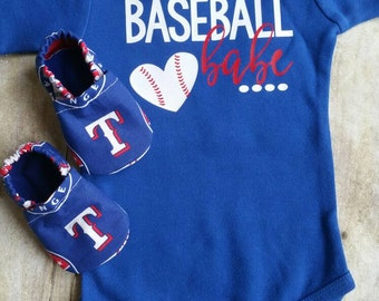 Texas Rangers Inspired Booties and Matching Shirt or Bodysuit