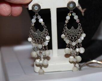 Vintage Sterling Dangle Chandelier Earrings-Marcasites, Crystals, Moonstone