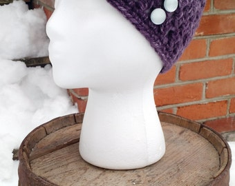 Purple Crocheted Beanie with Buttons, Winter Hat for Woman, Adult Beanies, Purple Teen Beanie, Womens Crochet Hats