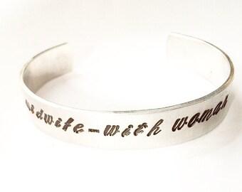 Stamped Midwife Bracelet. Midwife Jewelry