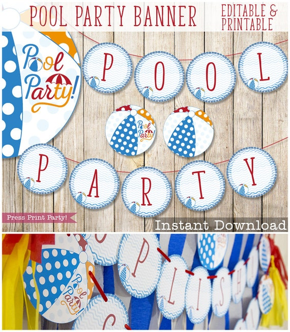 Pool Party Banner Beach Ball Banner printable Pool Party