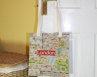 Shopping bag, tote bag, market tote, shopping tote, library bag - London map print