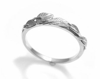 14k leaf ring vine ring matching wedding band 14k leaves ring vintage - Wedding Band Rings