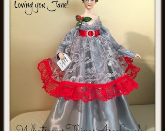 """Victorian Doll """"Jane"""" Art Doll Holiday Collectible OOAK Handmade Porcelain Ms. Austen Tree Topper"""