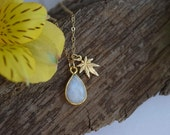 rainbow moonstone necklace and Mary Jane, natural stone jewelry, june birthstone, friendship necklace, teardrop, dainty gold necklace