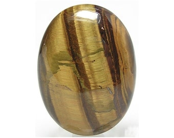 Tiger Iron, Golden Tiger's Eye Chatoyant Banded Semiprecious Stone Calibrated Oval Cabochon Loose Jewel 40x30 mm oval,