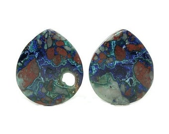 Blue Azurite with Green Malachite in Red Copper Mineral Porphyry Matrix Matched Gem Cabochon Pair for Earrings Southwestern Gemstone Jewels