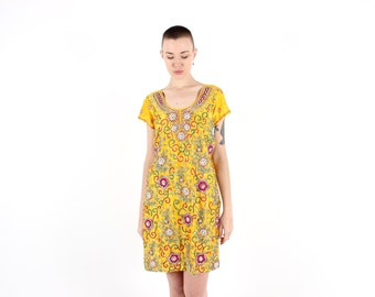 SALE - Intricate 90s Indian Sequin / Beaded Mirror Embellished Bright Yellow Gauze Tee Dress