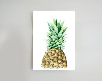 Pineapple art print- watercolor pineapple, illustration print, for home, for kitchen, gift for her, modern wall art decor by Cristina Ripper