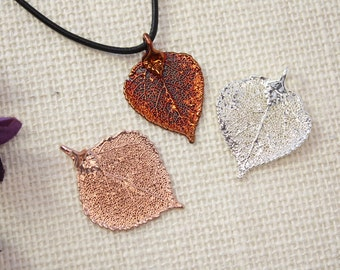 SALE Leaf Necklace, Copper Aspen Leaf, Real Leaf Necklace, Rose Gold Aspen Leaf, Christmas Gift, Gift Set, Teacher Gift, Bookmark, SALE298