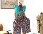 Closing SALE Vintage Culottes Gauchos Wide Leg Pants Bright Colors Bold Print