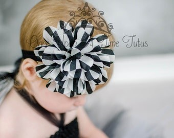 Black and White Striped Headband - Newborn Baby Hairbow - Little Girls Hair Bow - Formal Dressy Hair Accessories - Ready To Ship