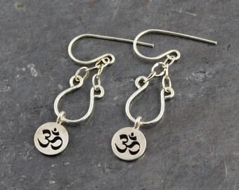 Fine Yoga Jewelry.Petite Argentium Sterling Silver Om Earrings - .930 Small Om Charm Earrings - Yoga Gift Ideas - Yoga Earrings