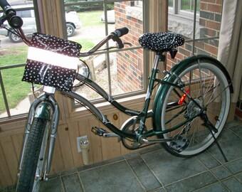 Black Polka Dots Bike Handlebar Convertible Pouch - Clutch - Hipster Bag - Crossbody Bag