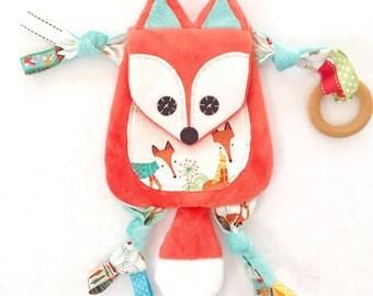 Mini Fox Baby Lovey Woodland Blanket Binky Clip Buddy
