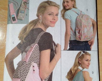 Butterick 5054 Sewing Pattern Teen Backpacks and MP3 Player Cover Uncut