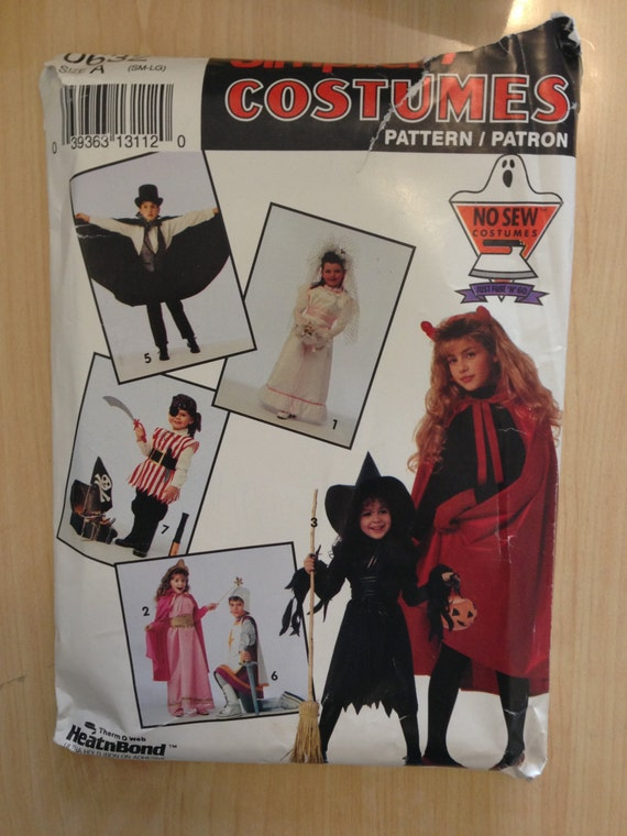 Simplicity 0632 90's Sewing Pattern Children's Costume Bride, Princess, Witch, Devil, Vampire, Knight and Pirate Size 2-12