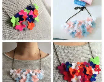 Felt Flower Necklace - Custom Felt Flowers Necklace - Felt Flowers