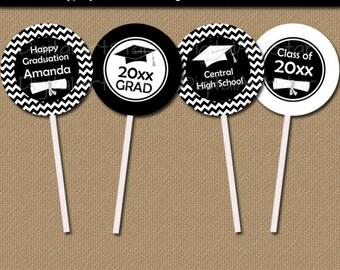 Black and White Graduation Cupcake Toppers - DIY Grad Party Decor - EDITABLE Graduation Cupcake Picks - Printable Graduation Party Ideas G3