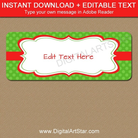 christmas return address labels template