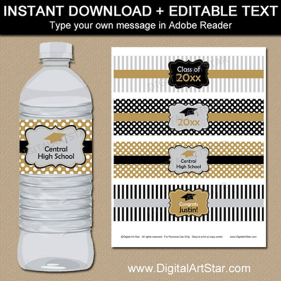 Silver Gold Black Graduation Water Bottle Label Printable