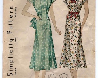 """1930's Simplicity Self-Belted Short Sleeve with pockets Dress Pattern - Bust 38"""" - No. 2717"""