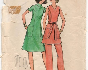 "1970's Butterick One-Piece Dress, Tunic and Pants Pattern - Bust 44"" - No. 6247"