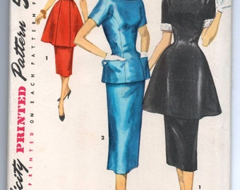 """1960's Simplicity Two-Piece Dress with Tunic Top with Peplum and Pencil Skirt - Bust 30"""" - UC/FF - No. 1298"""