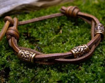 Leather Bracelet Woven knots