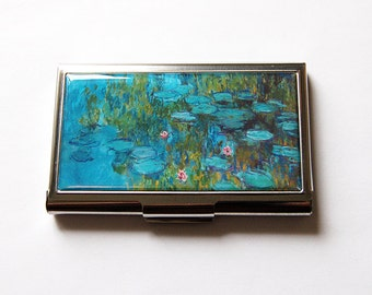 Business Card Case, Monet Water Lily, Monet Card Case, Card case, business card holder, Monet, Impressionist, art card case, blue (5593)