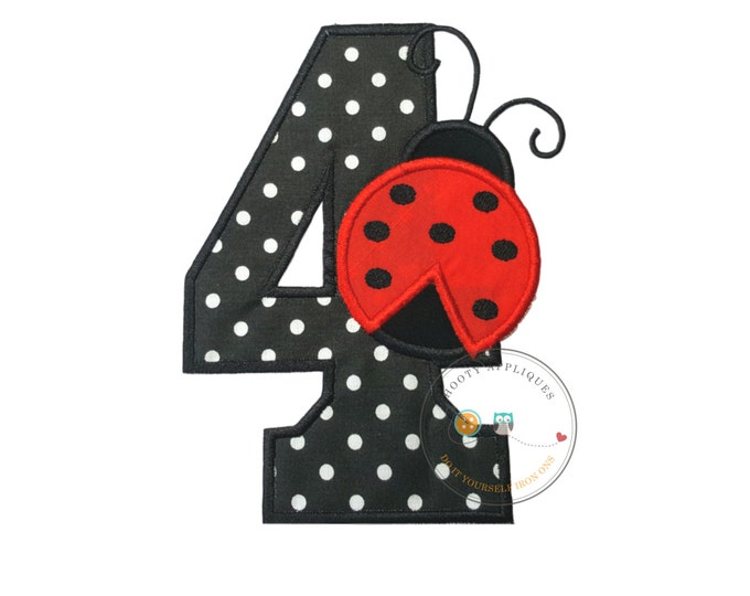 ladybug birthday number four iron-on applique in white dots on black and red ladybug with black dots embroidered in black with red trim