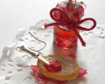 Slice of bread with jam and cherry jam jar - Little red riding hood one of a kind OOAK - handmade miniature polymer clay mini food jewelry