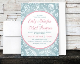 Beach Wedding Invitations   Blue Seashell With Pink   Printed Invitations