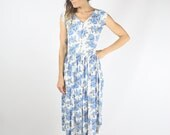Vintage Floral Picnic Dress, Blue Rose Midi Dress Day dress Garden party, Small