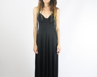 70s Black Maxi Dress, Slinky Halter LBD, XS Small