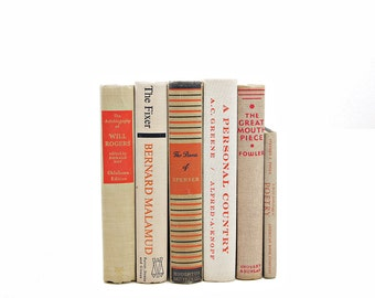 Beige BOoks, Orange Book Set, Antique Decorative Books, Old Book Decor, ivory Books, Instant Library Vintage Book Collection Instant Library