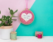 Home is where your mum is glitter heart embroidery hoop  - embroidery hoop art - gift for mum - Mother's Day gift - mum birthday