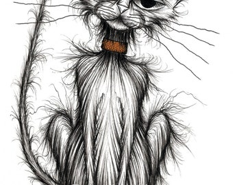 Rupert cat Print A4 size picture Shabby pet kitten puss kitty moggie with miserable face in grumpy mood who needs his dinner immediately