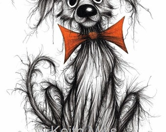 Bow tie Barry Print A4 size picture Ultra scruffy shabby pet pooch pup hound mutt in orange bow tie Amusing Animal drawing printed on paper